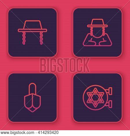 Set Line Orthodox Jewish Hat, Hanukkah Dreidel, And Jewish Synagogue. Blue Square Button. Vector