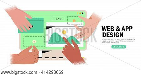 Hands Are Working On Website Or Application, Ui Ux Design And Programming. Team Of Designers Doing R