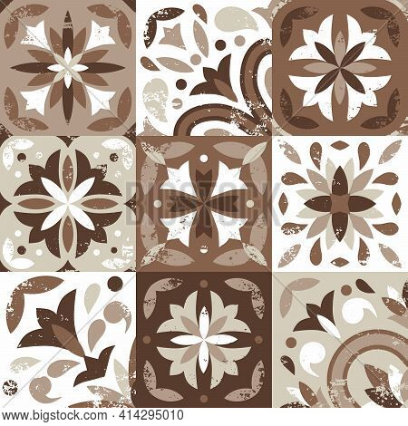 Seamless Pattern Of 9 Ceramic Tiles In Vintage Style, Nude Color Palette