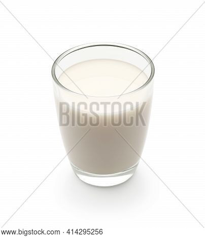 Glass Of Milk Isolated On White Background - Clipping Path Included