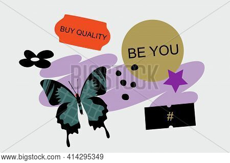 Vector Banner Template With Sticker Elements, And Butterfly. Modern Design For Ads, Social Media Pre