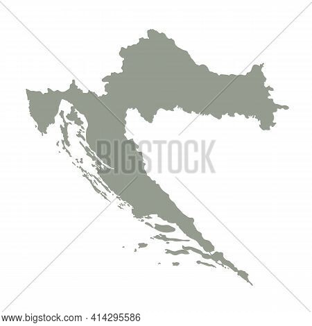 Silhouette Of Croatia Country Map. Highly Detailed Editable Gray Map Of Croatia