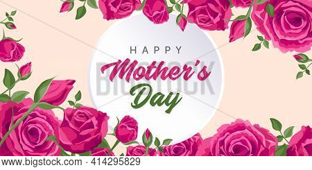 Happy Mother's Day Greetings. Vector Greeting Card For Social Media, Online Stores, Poster, Banner.