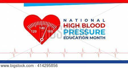 National High Blood Pressure Education Month. Vector Horizontal Banner, Poster For Social Media, Art