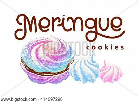 Logotype Of Airy French Meringues Twirls, Marshmallow, Zephyr. Vector With Calligraphy. Sweetness, S
