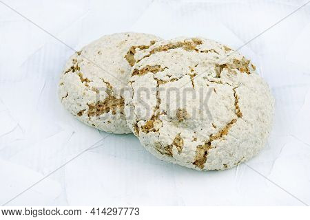 Italian Biscuits On Merengue On A White Background. Crispy Biscuits With Nuts.