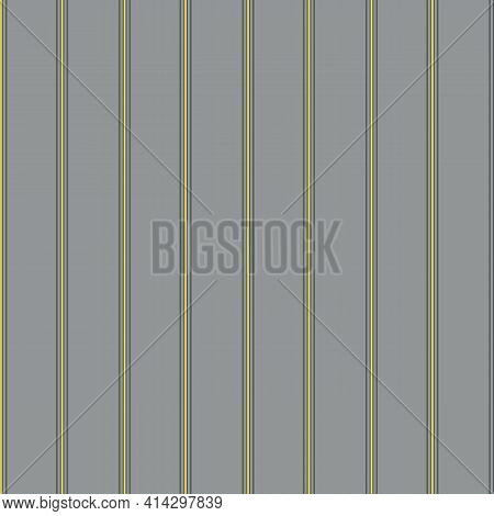 Vector Seersucker Grey Yellow Striped Seamless Pattern Background. Classic Preppy Shirting Vertical