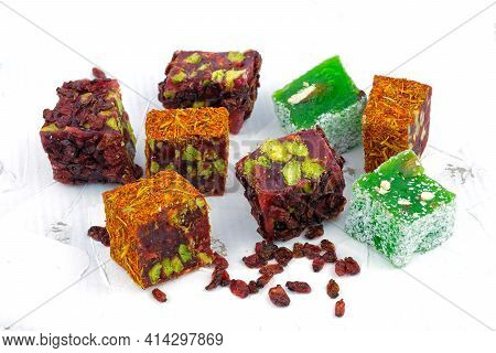 Turkish Delight Pomegranate With Pistachios, Covered With Barberry Berries. Apple Turkish Delight. T