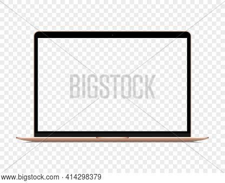 Realistic Golden Laptop With Blank Screen On A Transparent Background