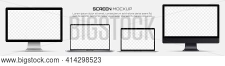 Computer Monitors And Laptops With Blank Screen. Mockup Of Screen Device