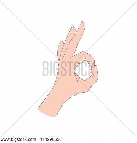 A Finger Gesture Indicating That Everything Is Fine, Good. Okay Hand Contour Line, Vector Ok Symbol