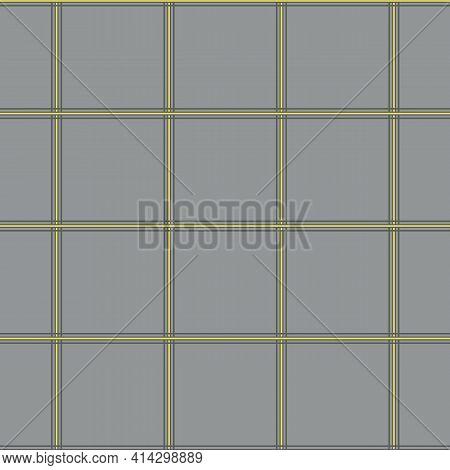 Vector Plaid Seamless Grid Pattern Background.thin Pinstripe Criss Cross Grey Yellow Backdrop. Inter