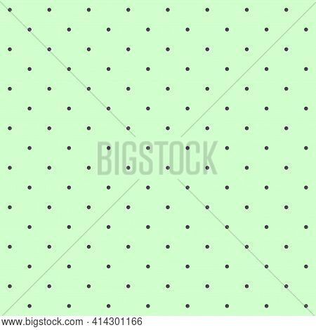 Seamless Pattern - Small Dark Dots On A Greenish Aquamarine Background. Moderate Graphic Texture For