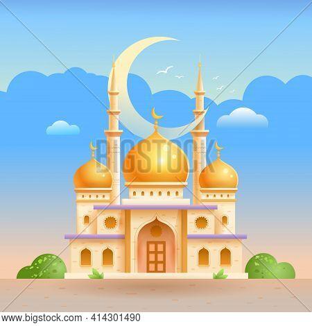 Islamic Mosque. Ramadan Holiday, Islam. Building In Islam. Vector Flat Illustration On White Backgro