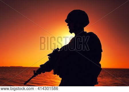 Silhouette Of Army Infantry Soldier, Special Forces Rifleman Armed With Service Rifle, Patrolling Co
