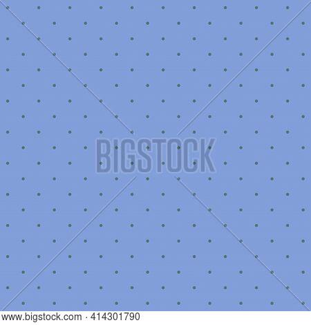 Seamless Pattern - Small Dark Blue Dots On A Soft Cornflower Blue Background. Pastel Graphic Texture