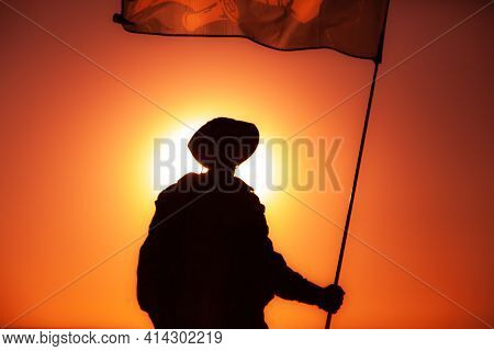 Silhouette Of Army Soldier, Commando Fighter Special Forces Infantryman Standing On Background Of Su