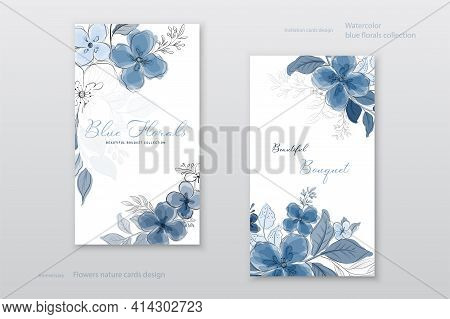 Beautiful Blue Watercolor Flowers Cards Collection. Decorative Vector Floral Elegant Can Be Used As