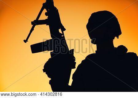 Shoulder Silhouette Of Army Machine Gunner, Special Operations Forces Infantryman Standing With Rais