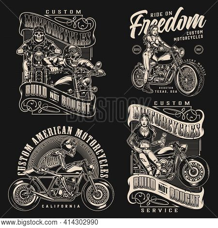 Custom Motorcycle Vintage Monochrome Labels With Inscriptions Skeleton Motorcyclists Attractive Bike