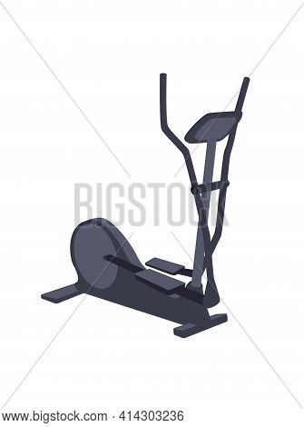 Elliptical Cross Trainer Isolated On White Background. Gym Sports Symbol Of Fitness Equipment And Sp