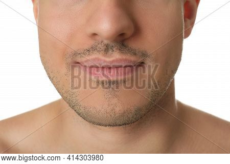 Man With Stubble Before Shaving On White Background, Closeup