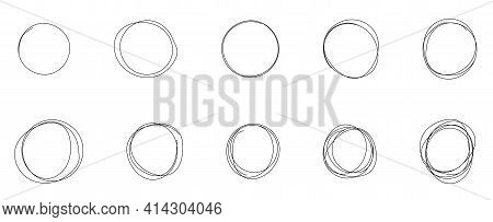 Set Of Hand Drawn Circle Line Sketch. Vector Circular Scribble Doodle Round Circles. Graphic Element
