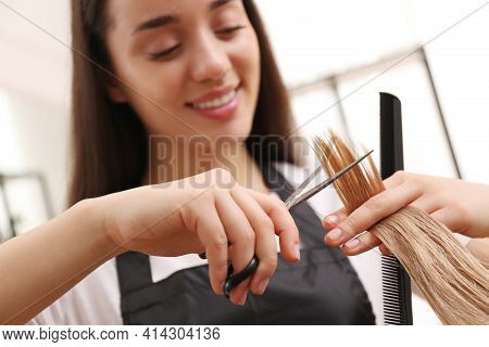 Stylist Cutting Hair Of Client In Professional Salon, Focus On Scissors