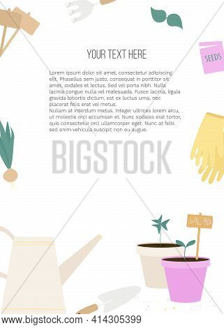 Vector Banner With Garden Tools (watering Can, Flower Pot, Plants) And Place For Text On White Backg