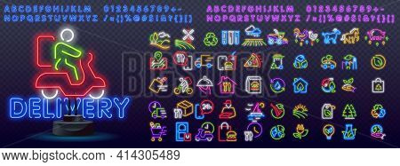 Delivery Product Neon Icons. Element Of Logistics Icons For Mobile Concept And Web Apps. Neon Delive
