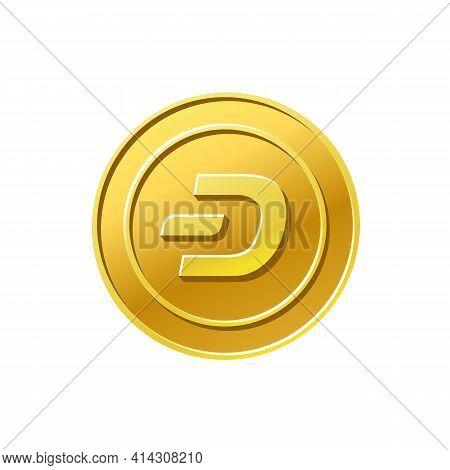 Dash Crypto Currency. Golden Dash Coin Icon