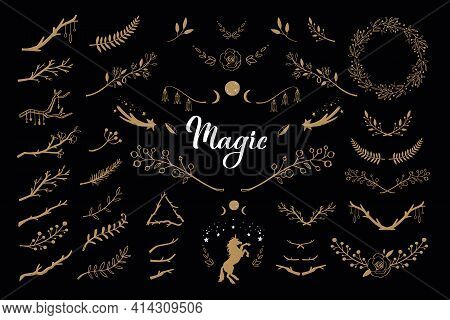 Botanical Magic Flower Decor Collection Set. Spiritual Concept