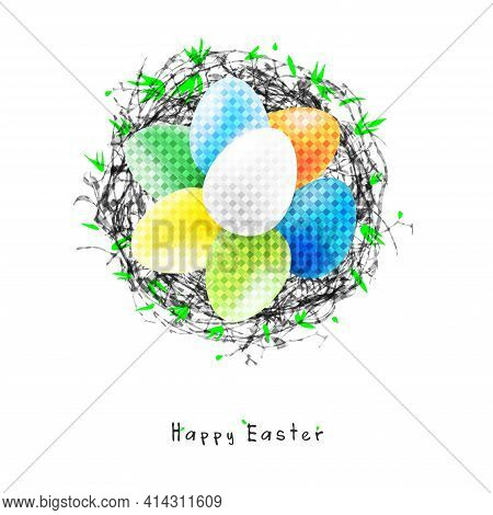 Postcard For The Holiday Happy Easter, A Nest Of Branches With Colorful Eggs, Easter Eggs In The Nes