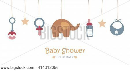Baby Welcome Greeting Card For Childbirth With Hanging Utensils