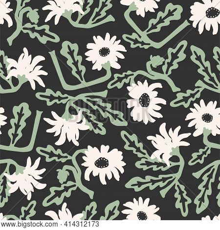 Vector Hand-drawn Retro African Daisy Flower Illustration Repeat Seamless Repeat Pattern