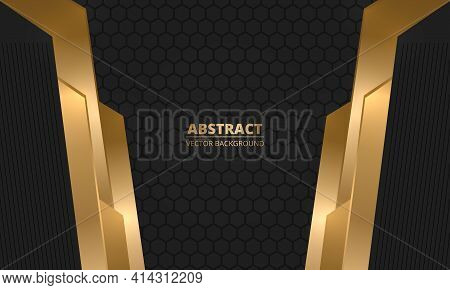 Dark Luxury Abstract Background With Hexagon Carbon Fiber Grid And Gold Metallic Shapes. Luxury Futu