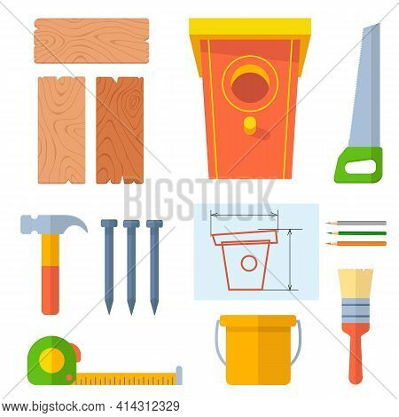 Set Of Building Materials And Tools For Building Birdhouse. Crafts Made Of Wooden Boards And Nails.