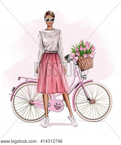 Beautiful Young Blond Hair Girl Standing Near Bicycle. Fashion Girl. Pretty Woman In Skirt. Girl In