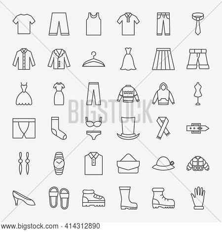 Clothing Line Icons Set. Vector Thin Outline Clothes Symbols.