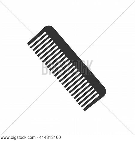 Black Hair Comb Icon Isolated On White Background. Comb Silhouette. Simple Icon. Web Site Page And M