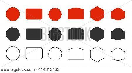 Starburst Empty Emblem Of Red And Black Colours. Empty Starburst Set. Vector