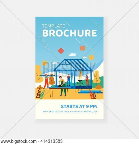 Professional Carpenters Team Making Wall And Rooftop Structure Isolated Flat Vector Illustration. Ca