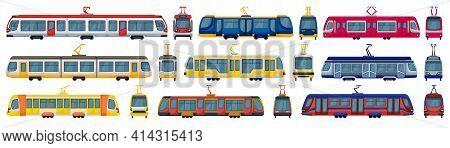 Tram Vector Cartoon Set Icon. Vector Illustration Streetcar On White Background. Isolated Cartoon Se