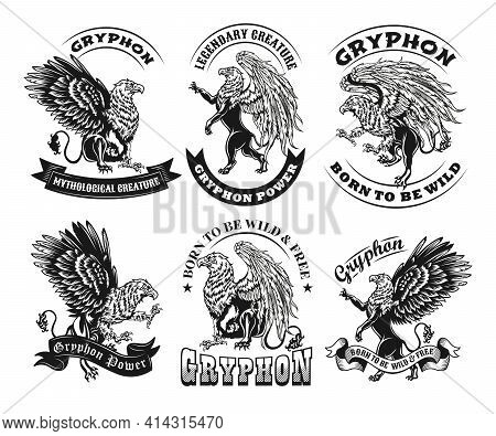 Ethnic Vintage Black And White Griffin Vector Illustrations Set. Isolated Graphic Sketches Of Griffi