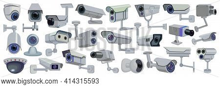 Video Camera Vector Cartoon Set Icon. Vector Illustration Control Of Surveillance On White Backgroun