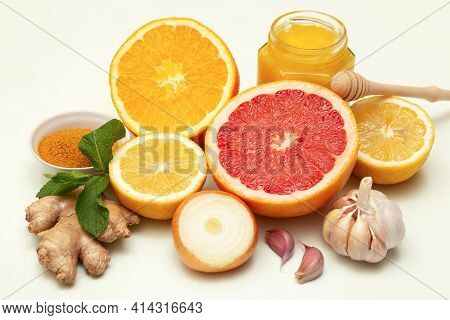 Healthy Citruse Products For Immunity Boosting And Cold Remedies, Close-up. Alternative Medicine Con
