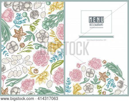 Menu Cover Floral Design With Pastel Ficus, Eucalyptus, Peony, Cotton, Freesia, Brunia Stock Illustr