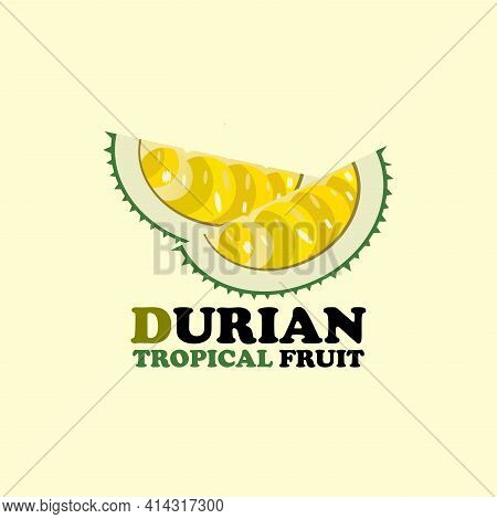 Durian Design Logo Vector. Illustration Durian Fruit Design Vector