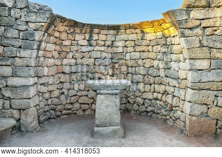 Stone Wall With An Altar In The Archaeological Museum Of Chersonese  - National Historical And Archa