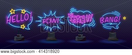 Clowns Neon Signs Set. Comic Bubbles Set In Neon Style. Expressions Cool, Oops, Wow, Omg, Crash, Yea